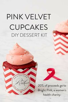 Pink Velvet Cupcakes, one of our bestselling dessert kits- and for a reason! These beauties are made with rich cocoa and are topped with cream cheese frosting. Everyone will think you bought them at a bakery. Plus, 20% of proceeds go toward Bright Pink. Our Pink Velvet cupcakes have a great taste, and for a great cause! See more desserts at redvelvetnyc.com