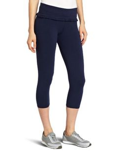 SOLOW Women's Jersey CB Ruffle Legging, Navy, Medium Fold over crop. With ruffle.  #Solow #Apparel