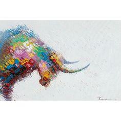 Parfait dans votre hall d'entrée, ce tableau peinture figurative contemporaine TAUREAU multicolore illuminera la pièce.