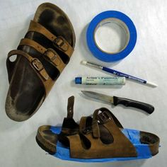 DIY instructions on how to paint boring sandals to look like new -- Iridescent Birkenstocks -- I gotta do this!!