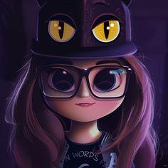 Cartoon, Portrait, Digital Art, Digital Drawing, Digital Painting, Character Design, Drawing, Big Eyes, Cute, Illustration, Art, Girl, Sophie, Pecora, Cat, Cap, Purple, Glasses #CatGirl