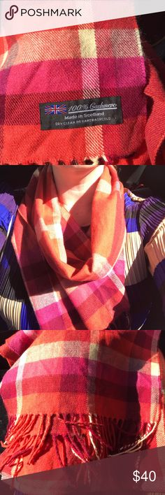 LIKE NEW😍 100% cashmere scarf 🍂🍁 Perfect condition scarf all cashmere! Colors vary with scarf. Shades of cranberry, rich goldenrod, tangerine, and fuchsia! Blend of shades makes this scarf a standout outfit accent! Accessories Scarves & Wraps