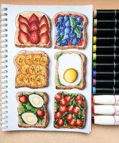pencil drawings of love Cool Art Drawings, Realistic Drawings, Art Drawings Sketches, Copic Marker Drawings, Food Art Painting, Recipe Drawing, Food Sketch, Copic Art, Color Pencil Art