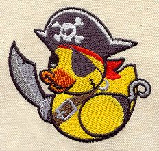 """Embroidery Designs at Urban Threads - Pirate Duckie (#UT2497) 2.91""""w x 2.75""""h 13 August 2010"""