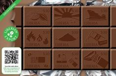 The African nation of Liberia issued 2 sheets of chocolate themed postage stamps commemorating of their leading exports, Cocoa