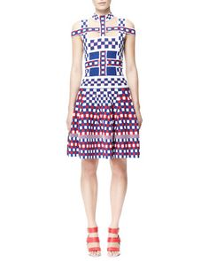 Off-Shoulder Check Harness Dress by Alexander McQueen at Neiman Marcus.