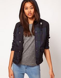 Enlarge River Island Check Quilted Jacket