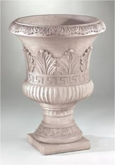 Green Leaf Urn Stone Planters, Urn Planters, Concrete Planters, Garden Stones, Garden Pots, Flower Vases, Flower Pots, Grey Nail Designs, Fiberglass Planters