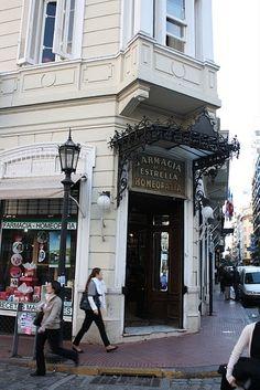 Farmacia de La Estrella, la primera de Buenos Aires.  A pharmacy open since 1894. Elaborate frescoes colour its ceiling.  Read more: http://www.lonelyplanet.com/argentina/buenos-aires/travel-tips-and-articles/75879#ixzz2i9PT4c00