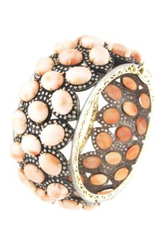14K yellow gold and silver pave diamond accented prong set assorted pink coral stone bracelet