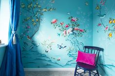 Diane Hill hand painted interiors turquoise chinoiserie mural. Colourful nursery (or children's bedroom) inspired by 18th century silk wallpaper. Create a stunning interior design for your home decor, or a feature wall.