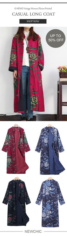 50% OFF! US$33.22 Plus Size O-NEWE Vintage Women Flower Printed Chinese Frog Long Coat. SHOP NOW!