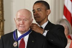 President Barack Obama  with John Glenn, astronaut and former US senator, dead at 95