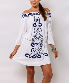 Look at this #zulilyfind! White & Navy Smocked Off-Shoulder Dress by La Moda Clothing #zulilyfinds