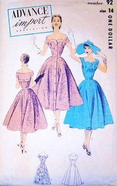 50s Advance Import Adaptation Dress Pattern 92 by SoVintageOnEtsy