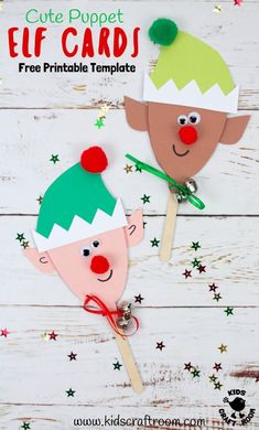 Elf Christmas Card Puppets are so cute and fun! They're really easy to make with the free printable template. These are adorable Elf Christmas Cards and puppet toys in one! A fun Christmas craft for kids to make and play with. Christmas Crafts For Kids To Make, Christmas Card Crafts, Summer Crafts For Kids, Homemade Christmas Cards, Christmas Elf, Handmade Christmas, Holiday Crafts, Kid Crafts, Christmas Card Ideas With Kids
