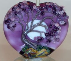 WSTGA~MOONLIGHT AND LILACS~SPRING TREE handmade lampwork focal glass bead SRA #WindSweptTreeGlassArt #Lampwork By Molly Cooley