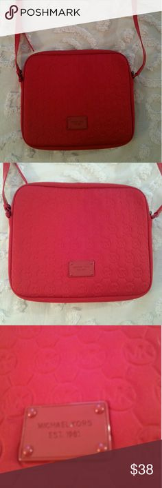🆕 Michael Kors Red Embossed Bag Super cute Crossbody  quilted bag with MK Embossed pattern.  Excellent condition. Michael Kors Bags