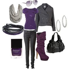 Gray and purple! Polyvore
