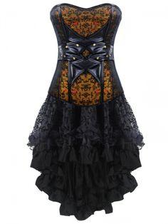 Walkingon #Gothic #Steampunk Leather #Corset Dress Zipper Bustier Tops