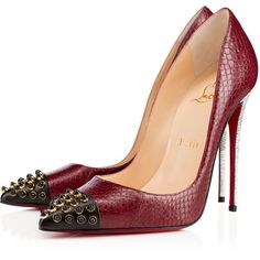Christian Louboutin Cabo Pump ($1,395) ❤ liked on Polyvore featuring shoes, pumps, heels, christian louboutin, scarpe, version lie de vin, pointy-toe pumps, spike shoes, spiked pumps and evening pumps