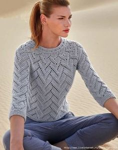 Light grey pullover knitted top down prescription in Russian + scheme
