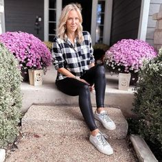 Krista wears a checked shirt and leggings | 40plusstyle.com How To Wear Leggings, Best Leggings, Check Shirt, Cool Style, Trousers, Style Inspiration, Black And White, Tops, Shirts
