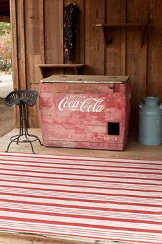 for country french kitchen - birmingham red woven cotton rug - dash & alby