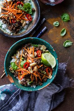 Hypoallergenic Pet Dog Food Items Diet Program 20 Minute Thai Basil Beef And Lemongrass Rice Bowls Hbharvest Asian Recipes, Healthy Recipes, Ethnic Recipes, Thai Basil Beef, Thai Basil Recipes, Thai Dishes, Half Baked Harvest, Mets, Ground Beef Recipes