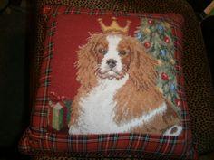 12x12 Cavalier King Charles Spaniel Needlepoint Christmas Pillow Blenheim Corded | eBay