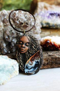 Agate Goddess Gemstone Necklace. Handcrafted by TRaewynJewelry