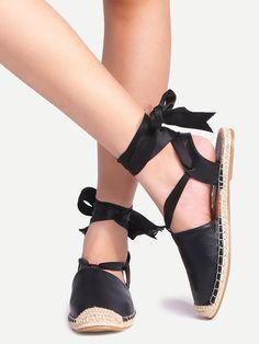 Ballerines à lacets en ruban - noir-French SheIn(Sheinside)