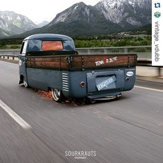 Awesome vintage VW Van truck! .... ♠ VW beetle bus # slammed # old school ♠... X Bros Apparel Vintage Motor T-shirts, VW Beetle & Bus T-shirts, Great price