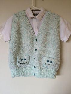 Hand Knitted Boys Vest,Handmade Vest,Boys Vest,Green And White Vest