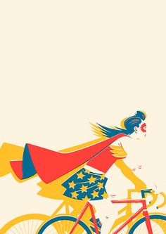 """Rad Wonder Woman illustration - """"How I feel on my bicycle on a 'good' day."""" —via biCyCle Store Paris Illustration Photo, Woman Illustration, Illustrations, Bicycle Illustration, Comic Art, Comic Books, Bicycle Art, Bicycle Store, Bicycle Design"""