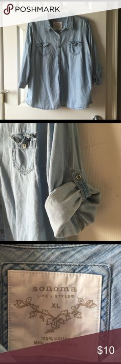 Ladies button up Ladies button up jean shirt, 3/4 sleeves that can be rolled and buttoned as shown in pic. Very soft and comfortable. Great condition! Sonoma Tops Button Down Shirts