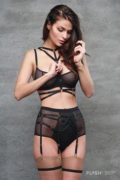 Six Strap Bondage Garter Belt - Sexy Bondage Lingerie for Women - Black White or Red