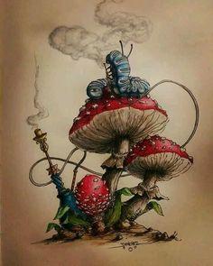 Alice in wonderland - mushroom art illustration Alice Tattoo, Alice In Wonderland Mushroom, Wonderland Alice, Caterpillar Alice In Wonderland, Wonderland Party, Art Sketches, Art Drawings, Tattoo Sketches, Alice In Wonderland Drawings