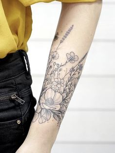 Floral tattoo forearm band