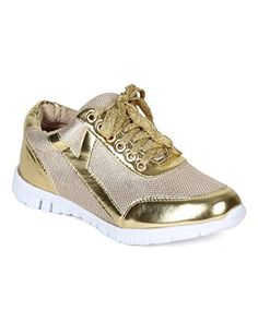 Nature Breeze CD33 Metallic Shimmer Lace Up Lightweight Cross Training Sneaker - Gold (Size: 5.5) *** Continue @
