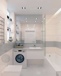 24 Laundry Room Design Ideas that Will Maximize your Small Space « housemoes Modern Laundry Rooms, Laundry Room Design, Laundry In Bathroom, Modern Bathroom, Master Bathroom, Bathroom Design Luxury, Bathroom Design Small, Bathroom Layout, Interior Design Kitchen