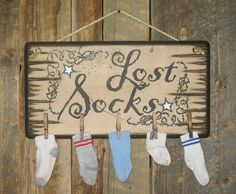 Lost Socks, Clothes Pin, Lost Sock Keeper For Laundry Room, Wooden, Antiqued, Wooden Sign via Etsy