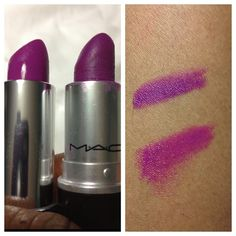 #dupes Comparing Mac's Heroine and Maybelline's ColorSensational Vivids Blazen Berry. Blazen Berry is on the bottom and Heroine is on the top on the right.