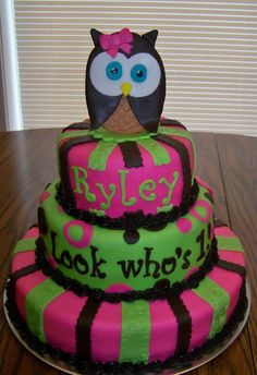 Owl Party Theme for my daughters 1st Birthday owl cake Look
