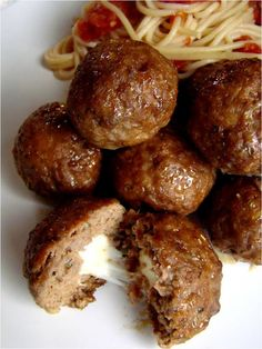 Pizza meatballs--think this would be great with chopped up pepperoni in the ground beef--serve it with a pizza topping salad (green peppers, mushrooms, etc.) and a slice or two of garlic bread-- #recipes #hambrger
