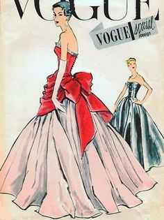 [The are famous for gigantic butt bows, but clearly other time periods had them! Fashion Sewing, Retro Fashion, Vintage Fashion, Fashion Goth, Vintage Dresses, Vintage Outfits, Vintage Vogue Patterns, Vogue Sewing Patterns, Mode Poster