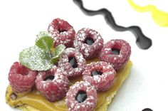 Tarte  mou cream and Raspberry filled with San Giacomo's Traditional Balsamic Vinegar.