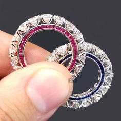 Red Ruby or Blue Sapphire? These all way around diamond and gemstone eternity bands are extremely impressive! #love #bridal #eternity #fancy #gems #ruby #sapphire #ring #diamond #eternityband #eternityring #diamondring #weddingband #fashionista #luxury #birthstone #fancy #september #jewelry #design #gold #lifestyle #redcarpet #celeb #upscale #finejewelry #gemstones #nyc #custom