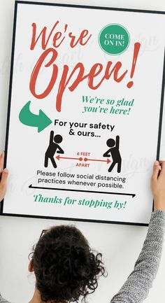 Social Distancing Open Sign, We're Open - Social Distancing Store Sign, Please Keep Your Distance Poster, We're Open Printable We Are Open Sign, Open Signs, Open For Business Sign, Business Signs, Origami Templates, Box Templates, Vegetable Drawing, Sympathy Quotes, Church Signs