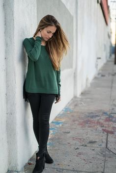 Green lace trimmed sweater. #HelloGorgeous